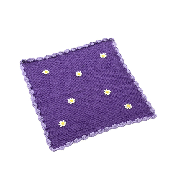 Purple Daisies Crochet Danish Baby Doll Cot Blanket - Smallstuff