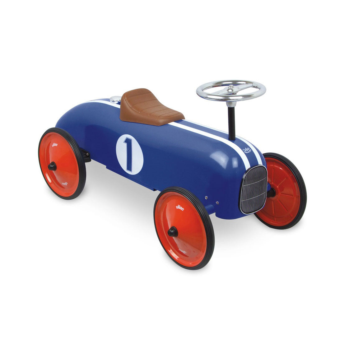 Vilac Classic Ride-On Racing Car - Blue Stripe - Little Citizens Boutique