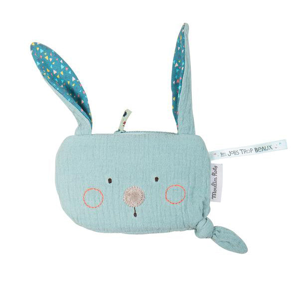 Blue Rabbit Pouch by Moulin Roty