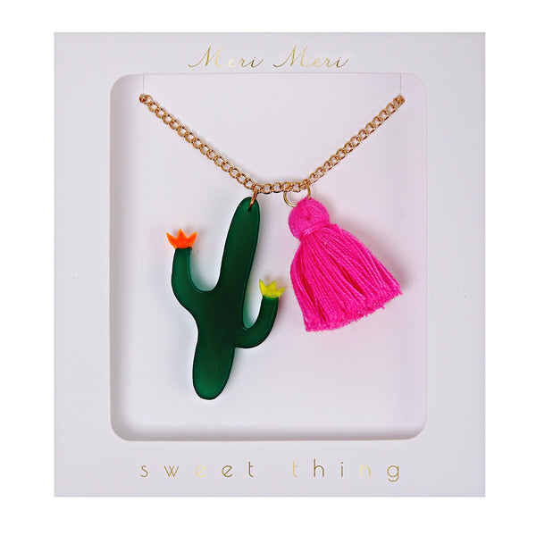 Cactus and Tassel Necklace by Meri Meri