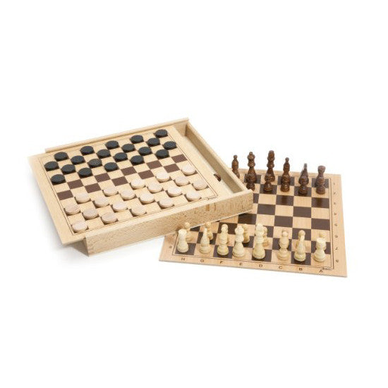 Chess and Checkers Wooden Game Set