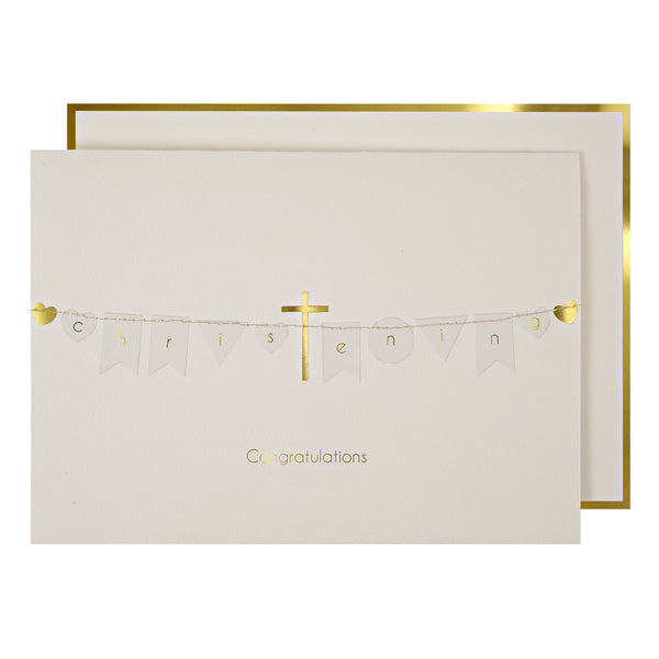 Gold Cross Christening Card by Meri Meri
