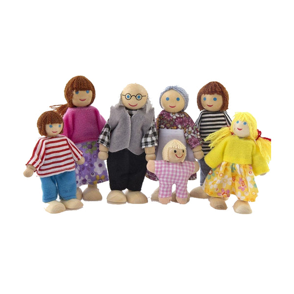 Family of Wooden Bendable Dolls