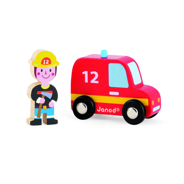 Janod Wooden Firefighter and Firetruck