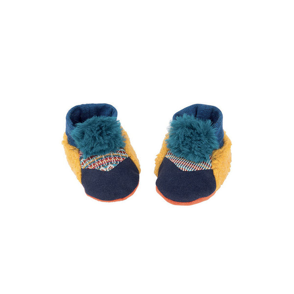 Fluffy Blue Baby Slippers by Moulin Roty