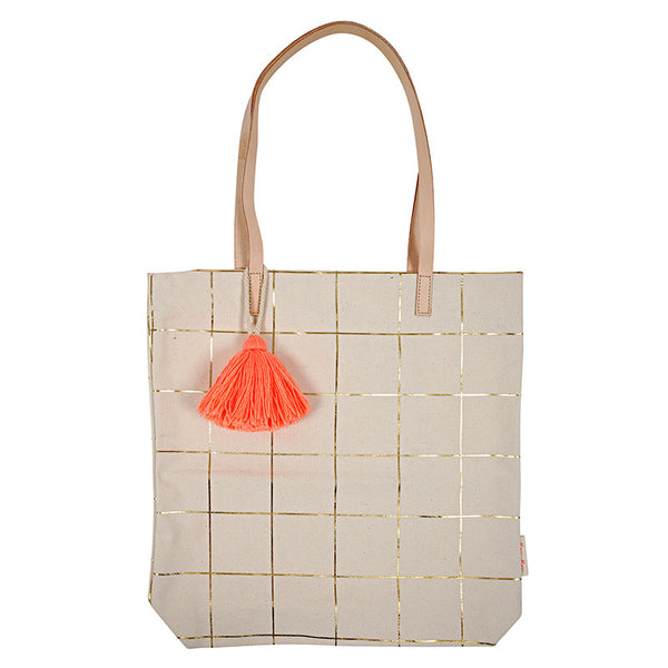 Gold Grid Canvas Tote with Tassel by Meri Meri