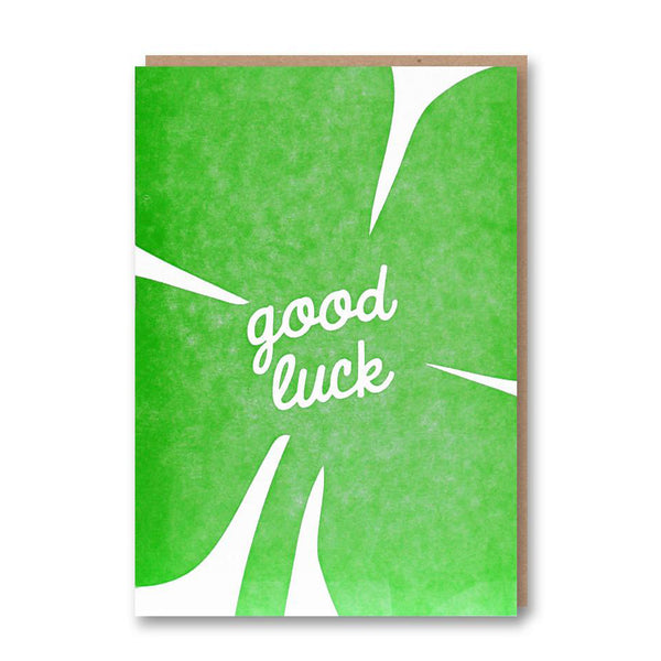 Good Luck Clover card from Letterpress