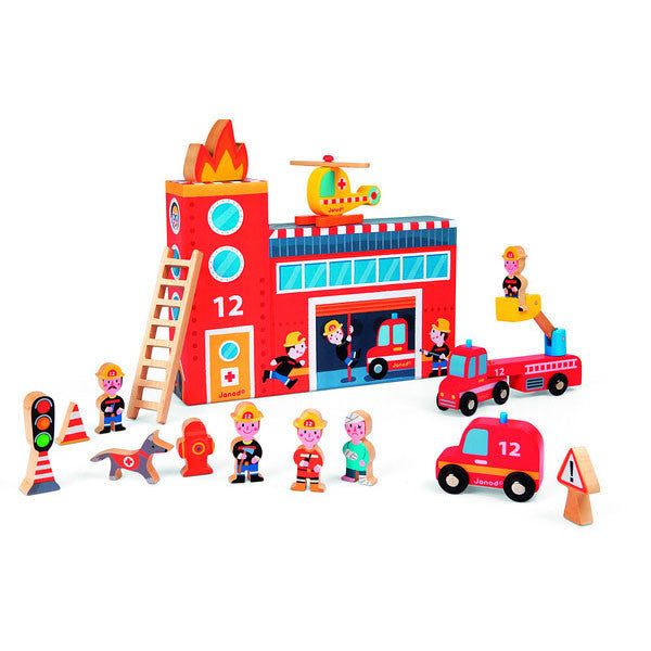 Fire Station Play World Set by Janod