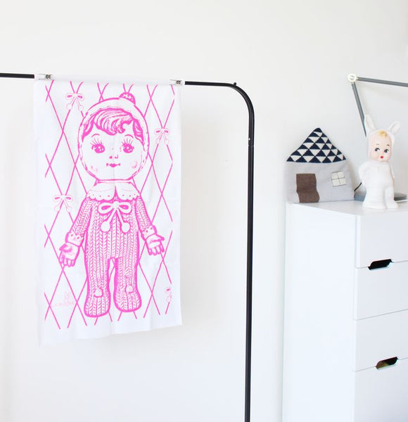 Pink Woodland Doll Tea Towel