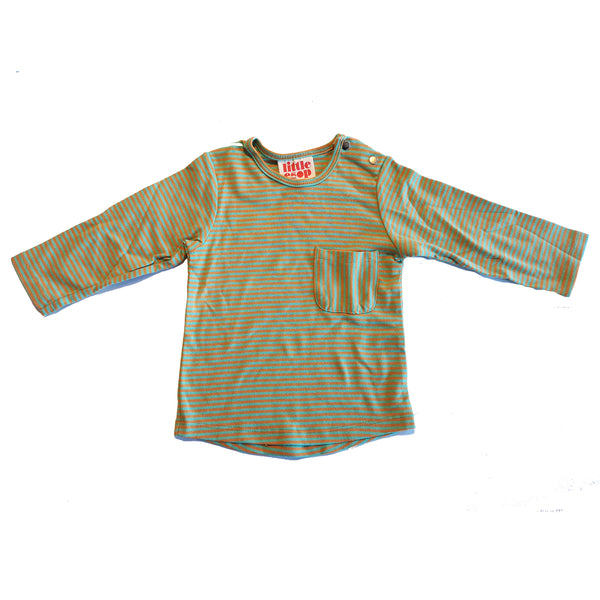 Orange and Green Striped Long Sleeved Pocket Tee by Little Esop