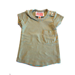 Orange and Green Striped Short Sleeved Pocket Tee by Little Esop
