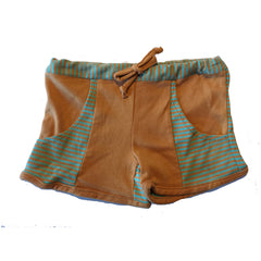 Orange and Green Striped Shorts with Pockets by Little Esop