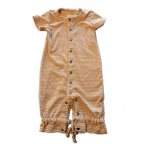 Orange and White Striped Short Sleeved Baby Romper by Little Esop