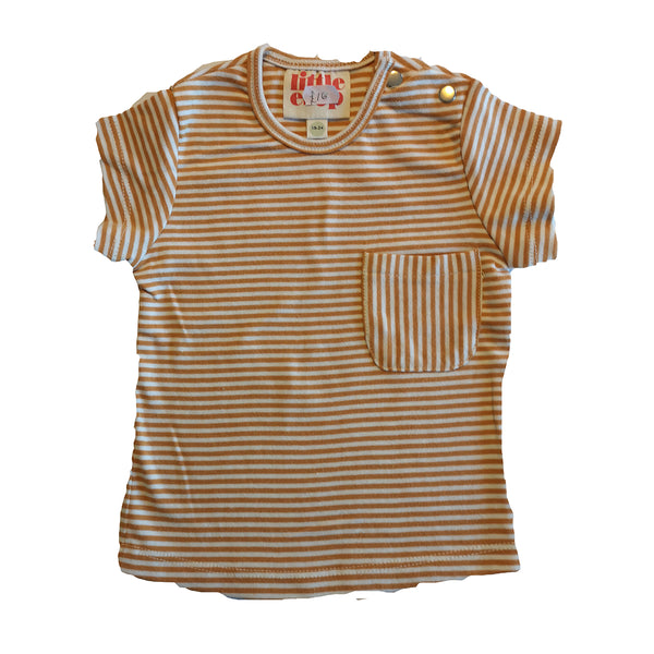 Orange and White Striped Short Sleeved Pocket Tee by Little Esop