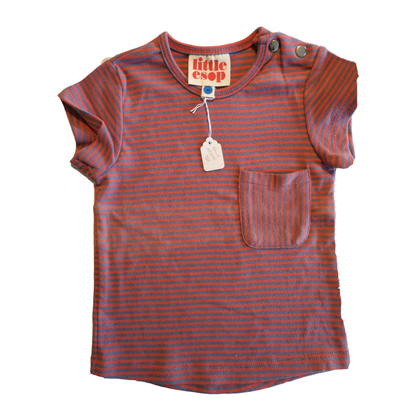 Lilac and Pink Striped Short Sleeved Pocket Tee by Little Esop