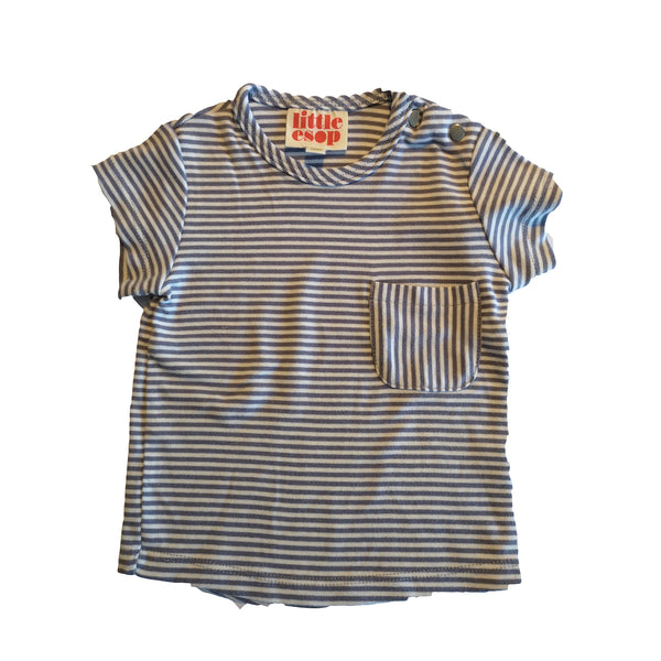 Lilac and White Striped Short Sleeved Pocket Tee by Little Esop