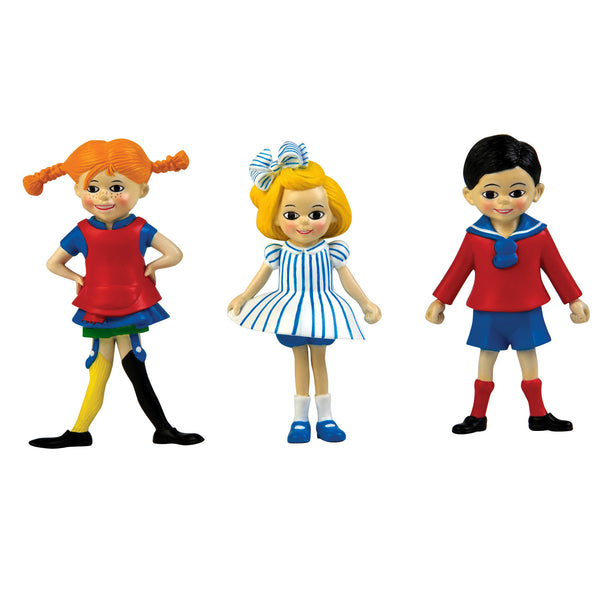 Pippi, Tommy & Annika - Dollhouse Figurines by Micki