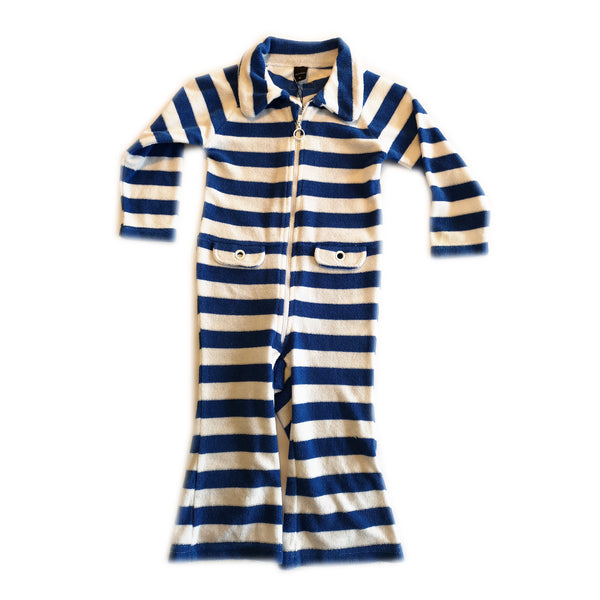 Royal Blue and White Flannel Jumpsuit by Moonkids - 12 Months