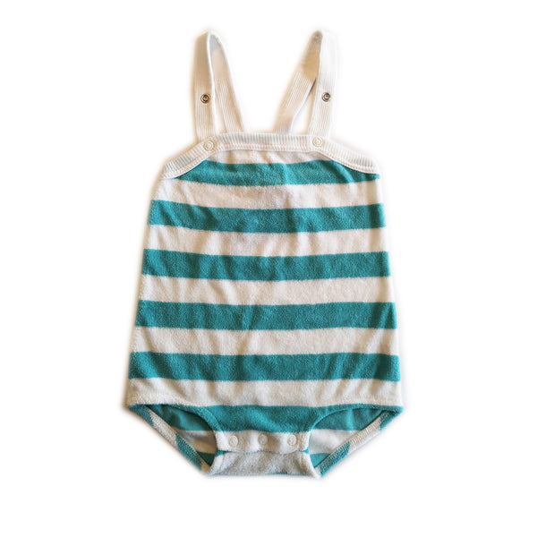 Blue and White Striped Strap Shorts by Moonkids