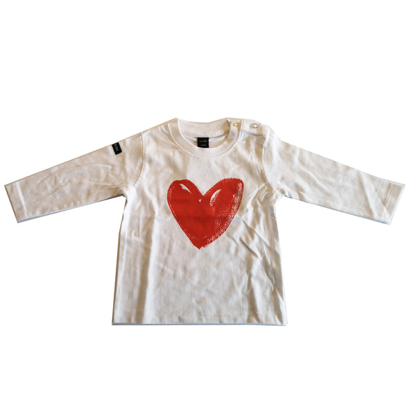 Red Heart Print Long Sleeved Tee by Moonkids