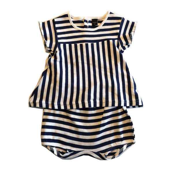 Blue and White Striped Baby Tee and Shorts by Moonkids
