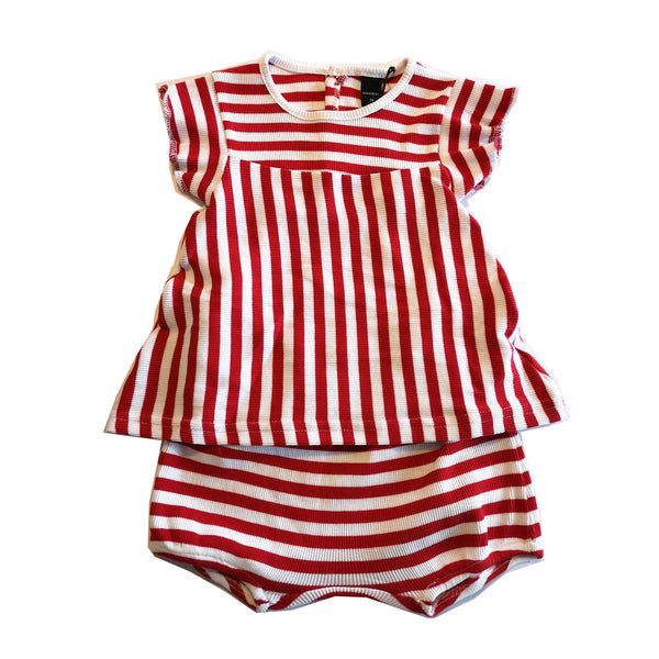 Red and White Striped Baby Tee and Shorts by Moonkids - 9 Months