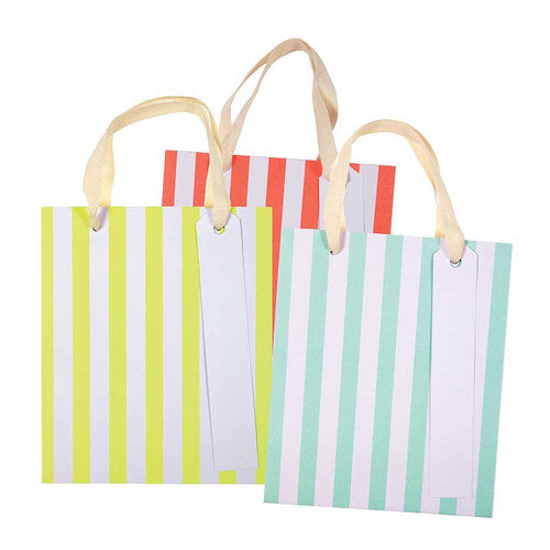 Medium Neon Stripe Gift Bags by Meri Meri