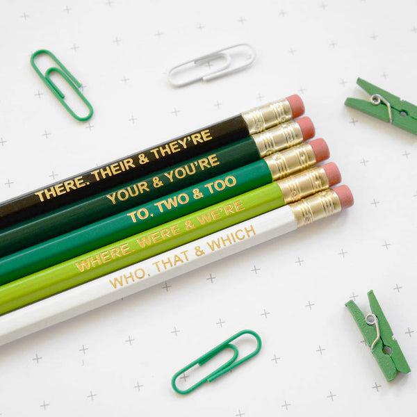 Ombre Green Pencils Grammar Rules Newton and the Apple