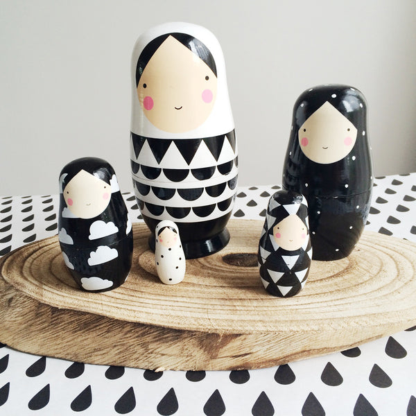 Wooden Matryoshka Monochrome Dolls