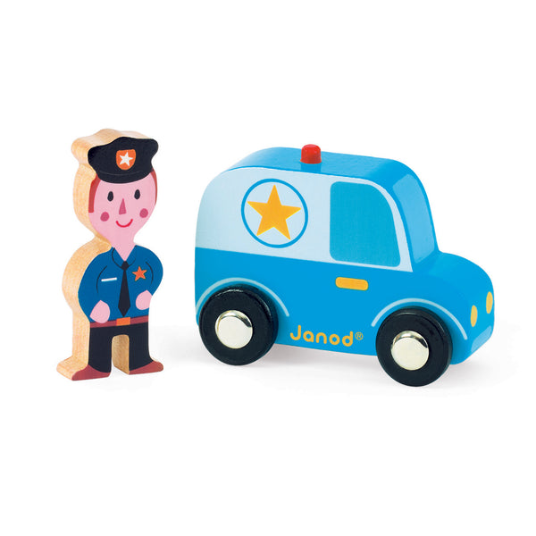 Janod Wooden Police Officer and Car