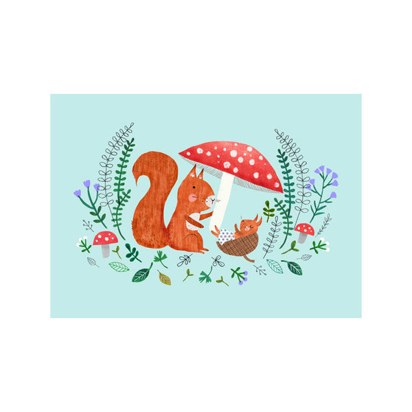 Baby Squirrel Postcard by Rebecca Jones
