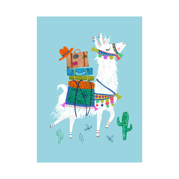Travelling Llama Postcard by Rebecca Jones