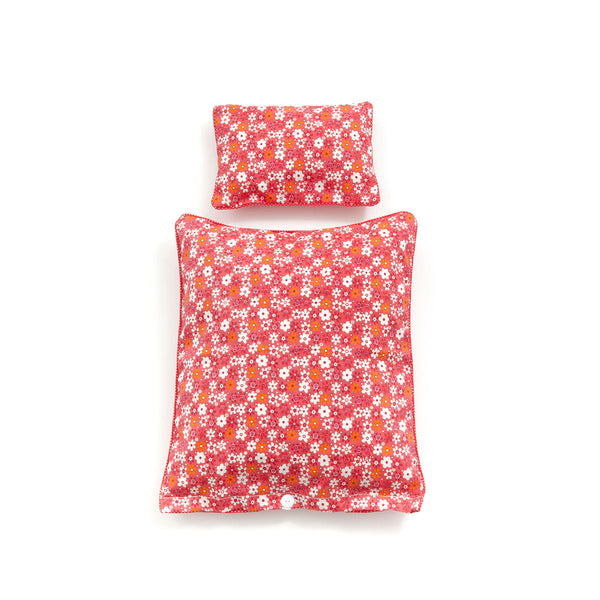 Red Flower & Dots Duvet and Pillow Danish Baby Doll Cot - Smallstuff