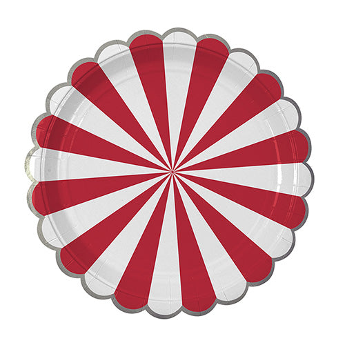 Red Stripe Large Plates by Meri Meri