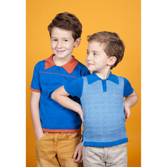Lamar Polo Shirt - in Blue & Terra - Little Citizens Boutique