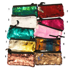 Multiple Colours Sequin Pencil Pouch