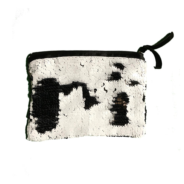 Black & White Colours Sequin Purse Pouch