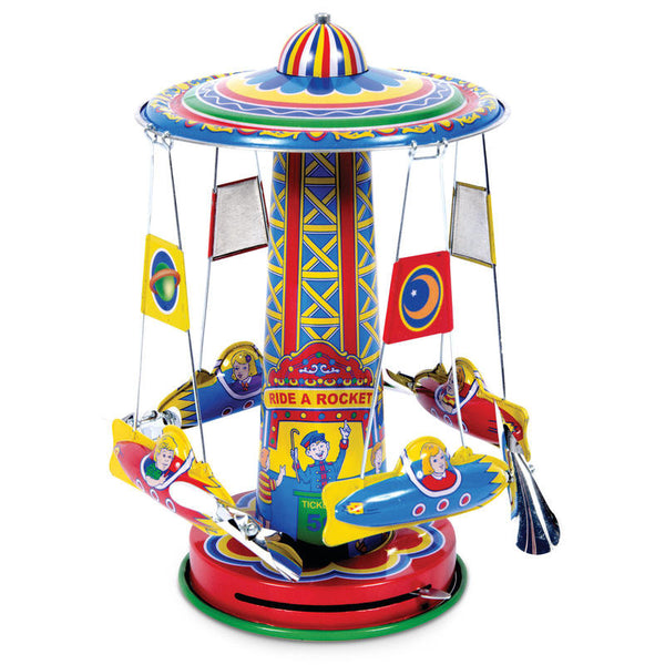 Rocket Ride Carousel Tin Toy by Tobar