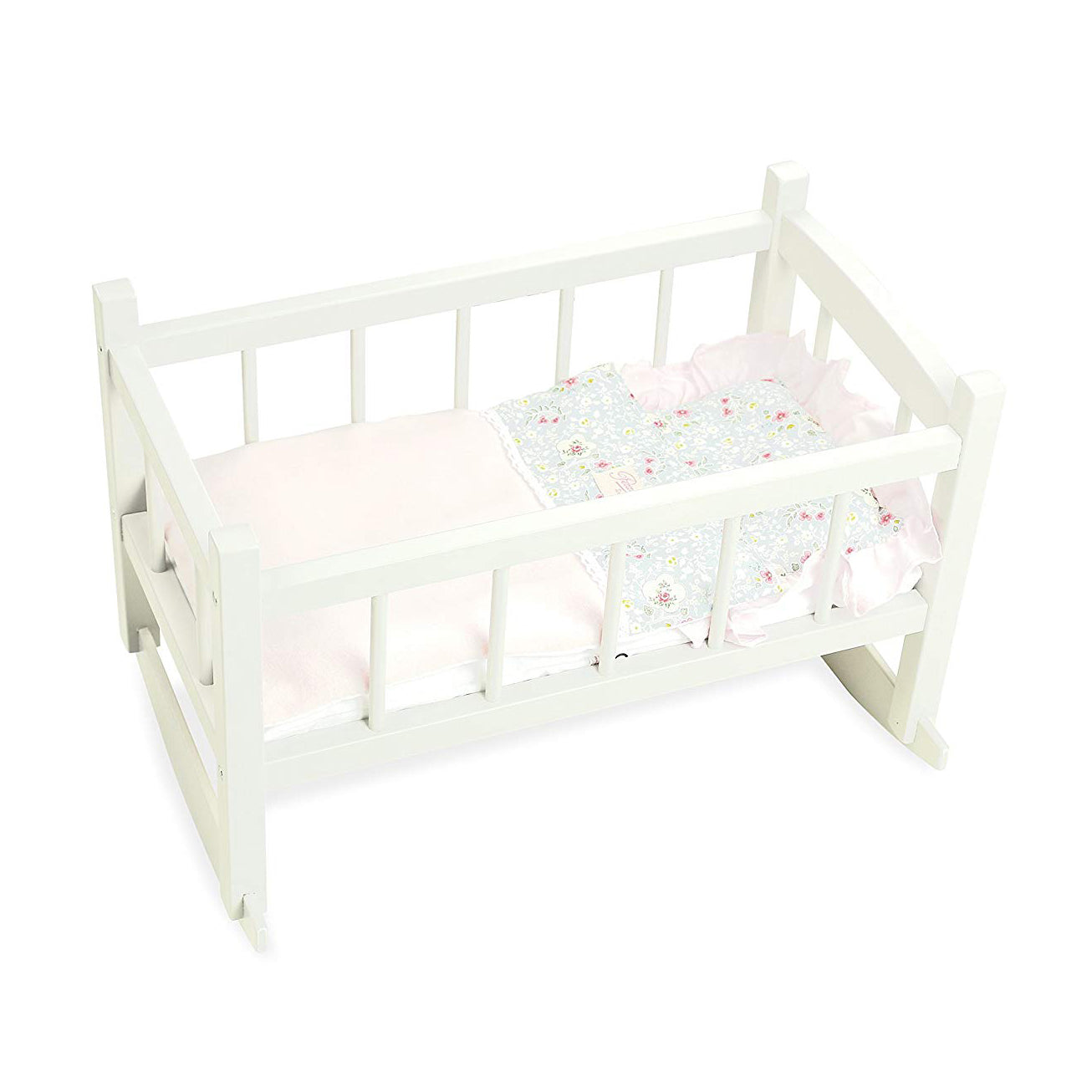 White Wooden Dolls Rocking Cradle - Petiticollin by Vilac