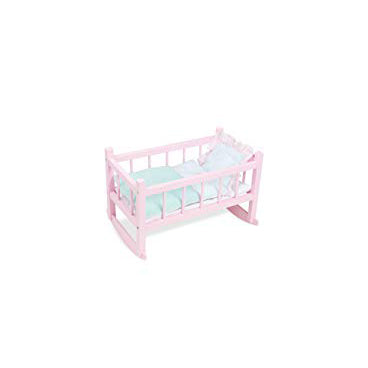 Pink Wooden Dolls Rocking Cradle - Petiticollin by Vilac