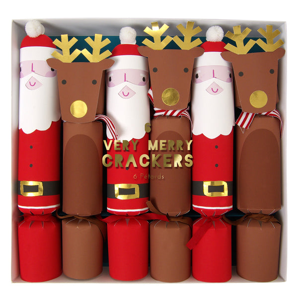 Santa & Rudolf Crackers - Set of Six