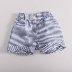 Seersucker Pin Stripe Shorts - Blue