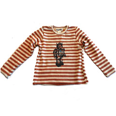 Pumpkin Stripe Robot Print Top by Siaomimi