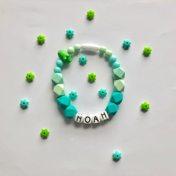 Green Silicone Beaded Teething Bracelet