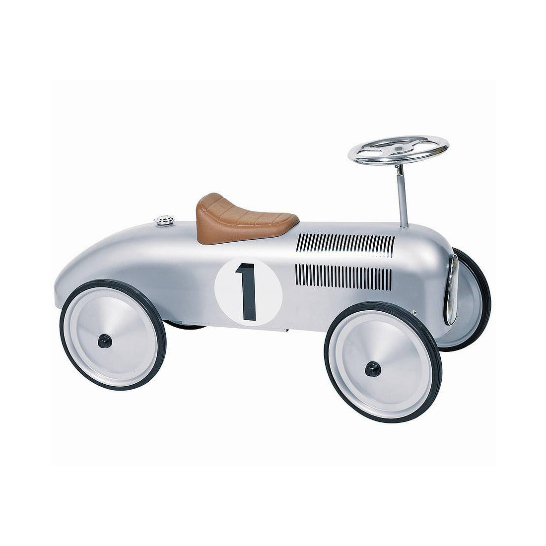 Silver Vintage Racing Ride-On Car - Little Citizens Boutique