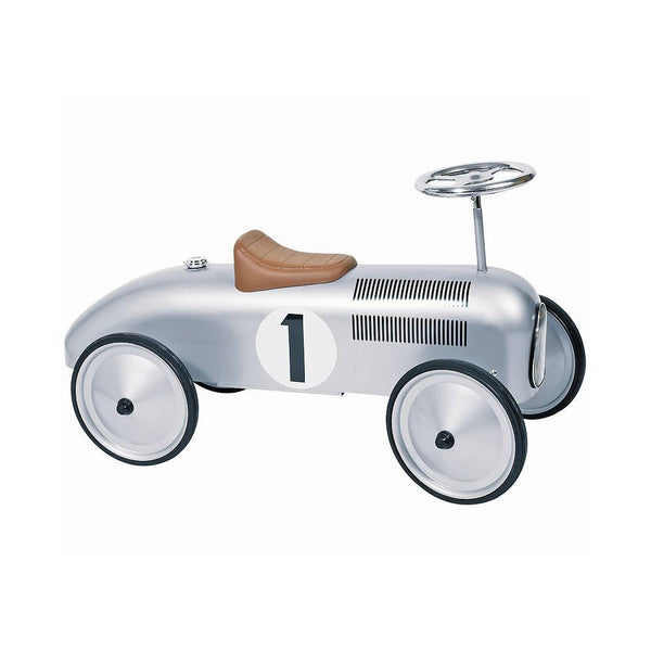 Silver Vintage Racing Ride-On Car