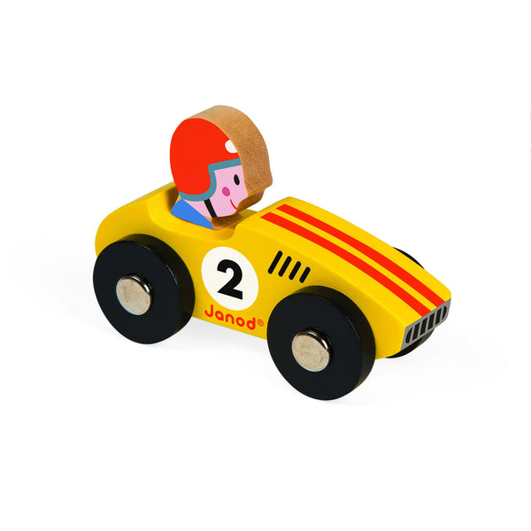 Janod Story Racing Retro Car - Yellow
