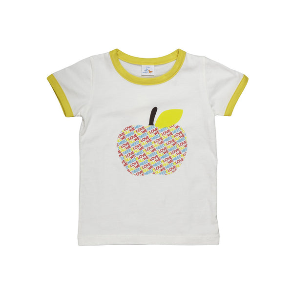 Dis Une Couleur Apple Print Tee - Yellow