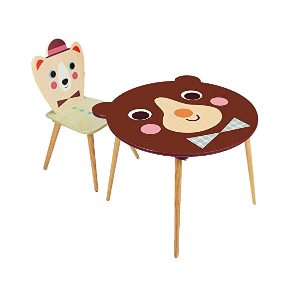 Wooden Bear Table and Bear With Hat Chair by Ingela P Arrhenius for Vilac