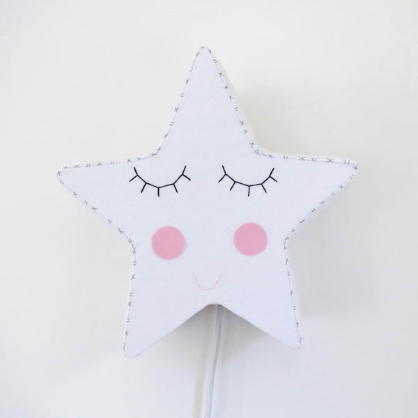 White Sleepy Star - Night Light by House of Clouds
